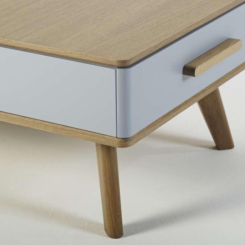 Table Basse Scandinave Avec Deux Tiroirs 120 X 60 Cm Fabriquee En France Paul 600