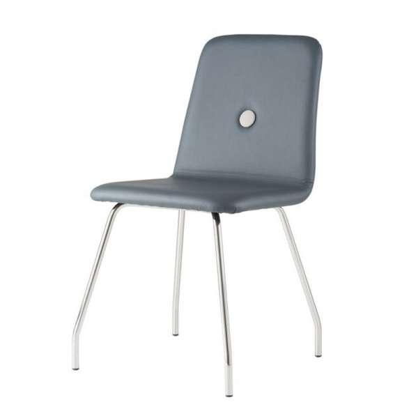 Chaise grise fabriquée en Italie en synthétique et pieds en métal personnalisables - Nio - 2