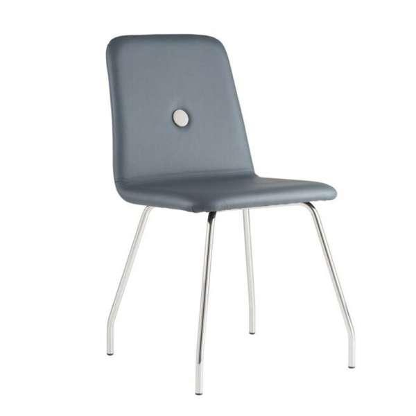 Chaise de salle à manger en synthétique bouton gris glace MG04 et pieds en métal - Nio - 1