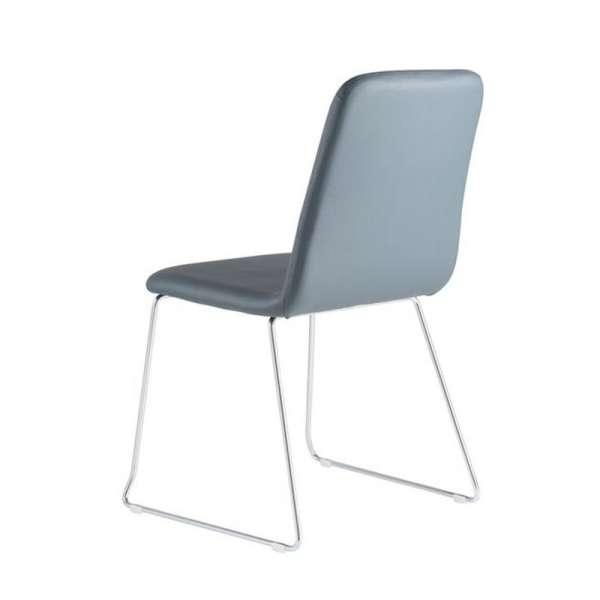 Chaise de séjour fabriquée en Italie en synthétique gris et pieds en métal - Nio - 5