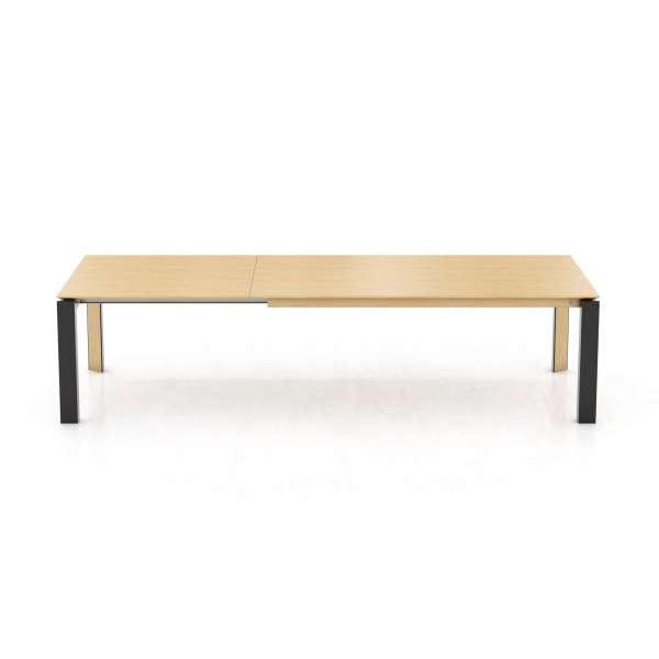 Table extensible en bois massif naturel et métal noir - Oxford Mobitec® - 2