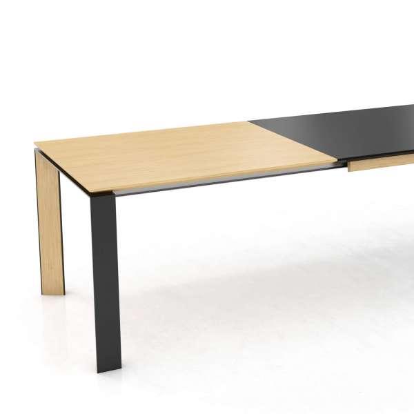 Table extensible en stratifié noir Fénix, bois et métal - Oxford Mobitec® - 2