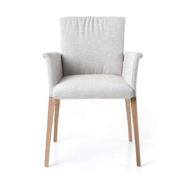 Fauteuil blanc en tissu et pieds en bois massif - Pure comfort Mobitec® - 2