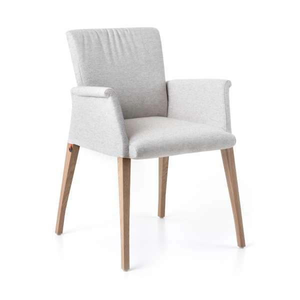 Fauteuil cocooning en tissu blanc plissé avec pieds en bois - Pure comfort Mobitec® - 1