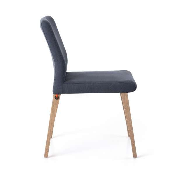 Chaise bleue en tissu et pieds en bois massif - Pure classic Mobitec® - 3