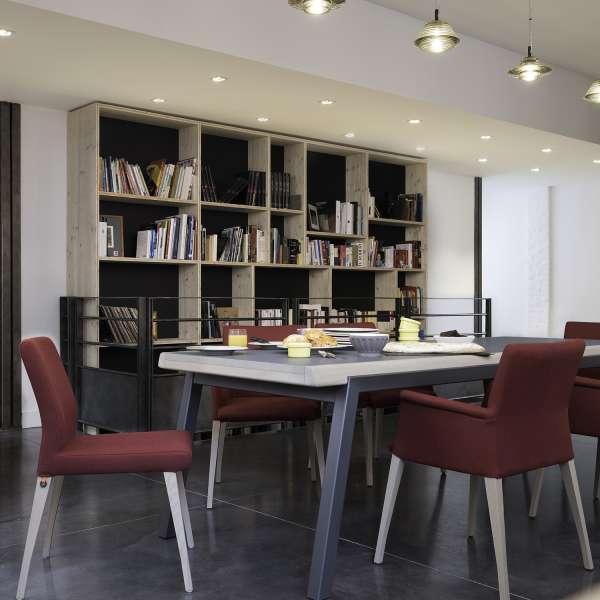 Table avec allonge plateau en bois avec pieds en métal - London Mobitec® - 4