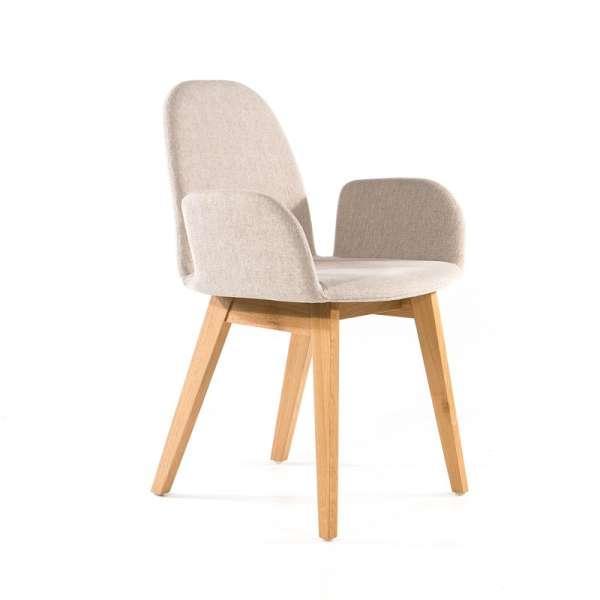 Fauteuil scandinave en tissu gris clair et bois clair - Puccini Mobitec® - 11