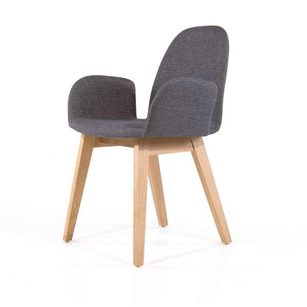 Fauteuil de séjour en tissu gris et pieds en bois - Puccini Mobitec® - 6
