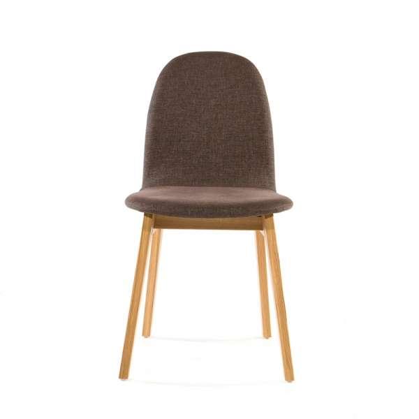 Chaise de salle à manger en tissu marron et bois massif - Puccini Mobitec® - 15