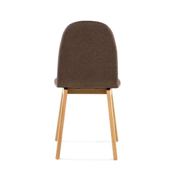Chaise avec pieds en bois et revêtement en tissu marron - Puccini Mobitec® - 16