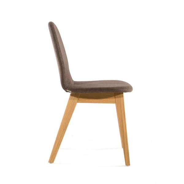 Chaise en tissu marron et pieds en bois massif - Puccini Mobitec® - 18