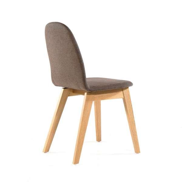 Chaise scandinave grise en bois et tissu - Puccini Mobitec® - 12