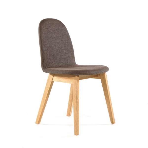 Chaise scandinave marron en bois et tissu - Puccini Mobitec® - 11
