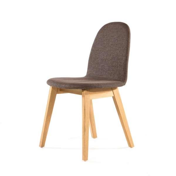 Chaise en tissu gris et pieds en bois - Puccini Mobitec® - 14