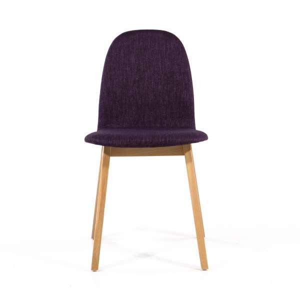 Chaise scandinave violette en bois massif et tissu - Puccini Mobitec® - 2