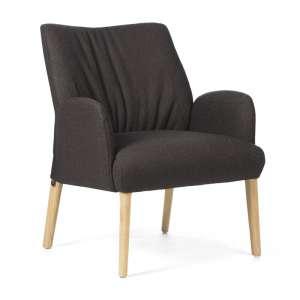 Fauteuil confortable revêtement en tissu marron et pieds chêne massif - Enora Mobitec®