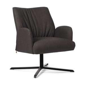 Fauteuil confortable pivotant en tissu marron et pieds métallique en croix - Enora Mobitec®