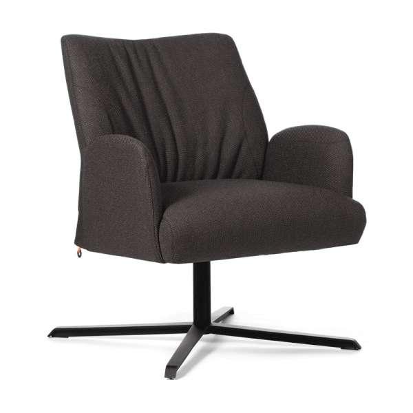 Fauteuil confortable pivotant en tissu marron et pieds métallique en croix - Enora Mobitec® - 1