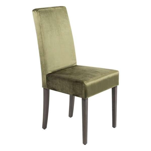 Chaise en tissu velours vert et chêne massif - Gaby Mobitec® - 8