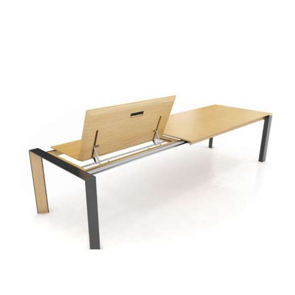 Table en bois massif et pieds en métal avec allonge papillon - Oxord Mobitec® - 5