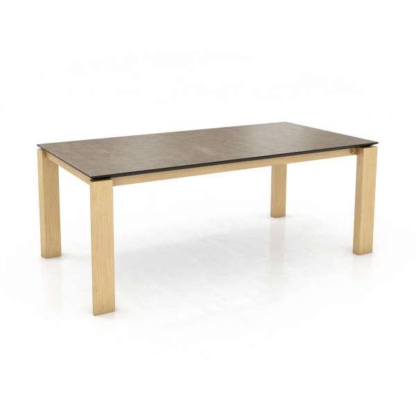 Table de salle à manger avec plateau en céramique et pieds en bois massif - Oxford Mobitec® - 1