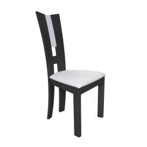Chaise de salle à manger française contemporaine en vinyle blanc et bois massif - Floriane