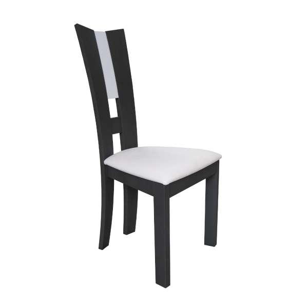 Chaise de salle à manger française contemporaine en vinyle blanc et bois massif - Floriane - 1