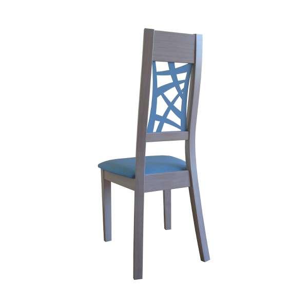 Chaise de salle à manger contemporaine française bleu et bois – Loane 5 - 4