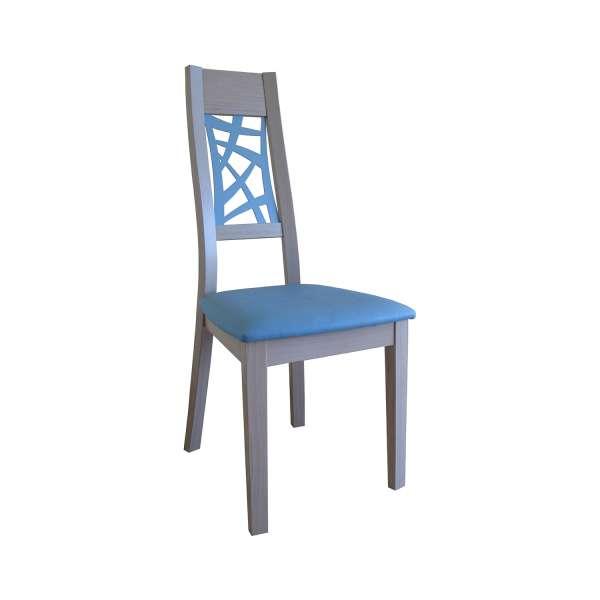 Chaise de salle à manger contemporaine en bois et vinyle bleu – Loane 7 - 3