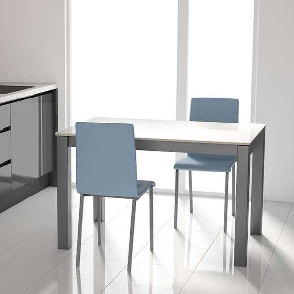 Table moderne rectangulaire en verre blanc brillant et métal anthracite - Tokio - 2