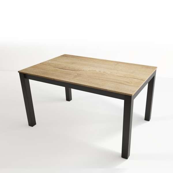 Table extensible en stratifié chêne naturel et pieds en métal anthracite - Tokio - 3