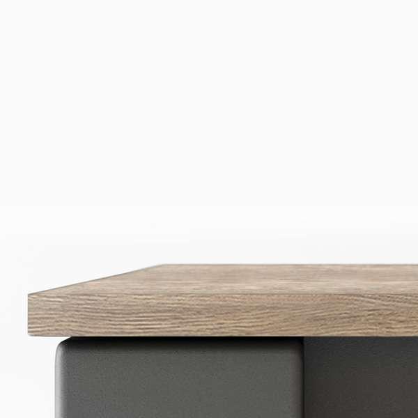 Table contemporaine extensible en stratifié et piétement métallique - Tokio - 5