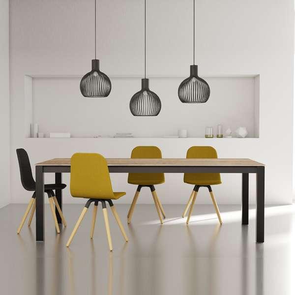 Table de salle à manger contemporaine extensible en stratifié hêtre naturel et pieds en métal anthracite - Tokio - 1