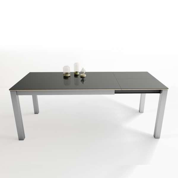 Table rectangulaire en verre anthracite brillant et métal aluminium extensible - Kyoto - 4