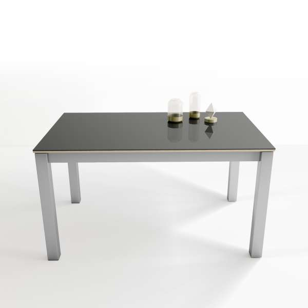 Table espagnole avec plateau en verre anthracite brillant et pieds en métal alluminium - Kyoto - 3