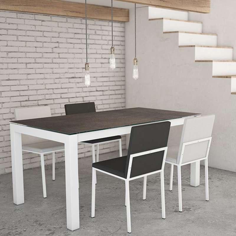 Table Contemporaine Extensible En Ceramique Et Metal Tokio