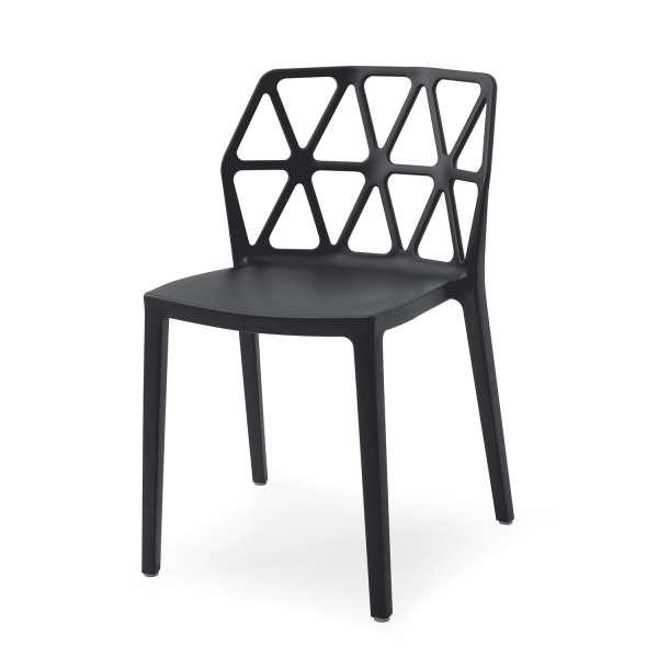 chaise design empilable en plastique polypropylène noir - Alchemia Connubia - 5