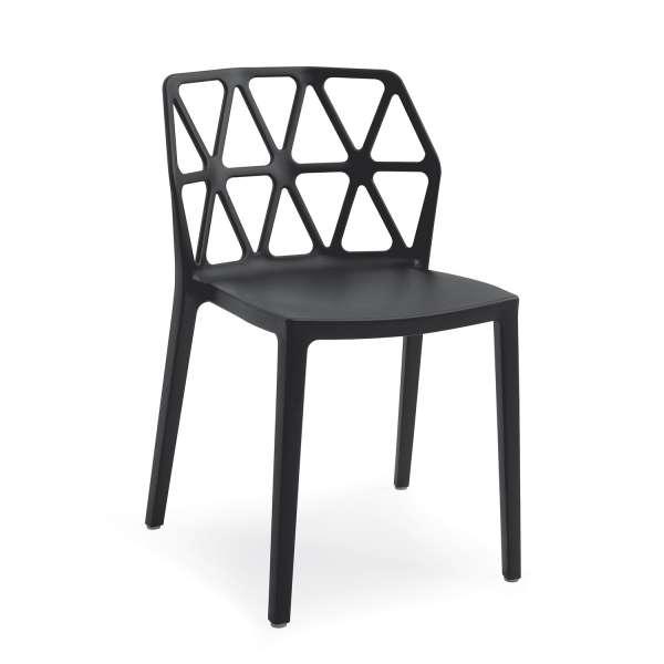 chaise de jardin design empilable en polypropylène noir - Alchemia Connubia - 1