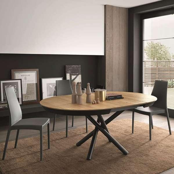 Table extensible en bois chêne plaqué W04 et pieds en métal M04 - Fahrenheit - 2