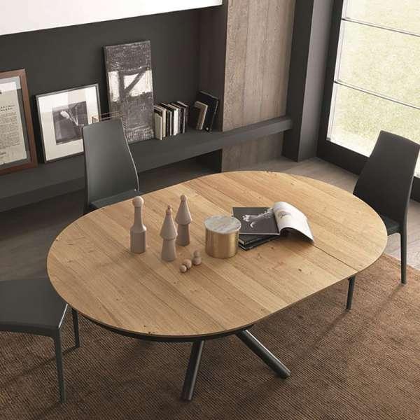 Table scandinave ronde en bois W04 avec piétement central en métal M04 - Fahrenheit - 4