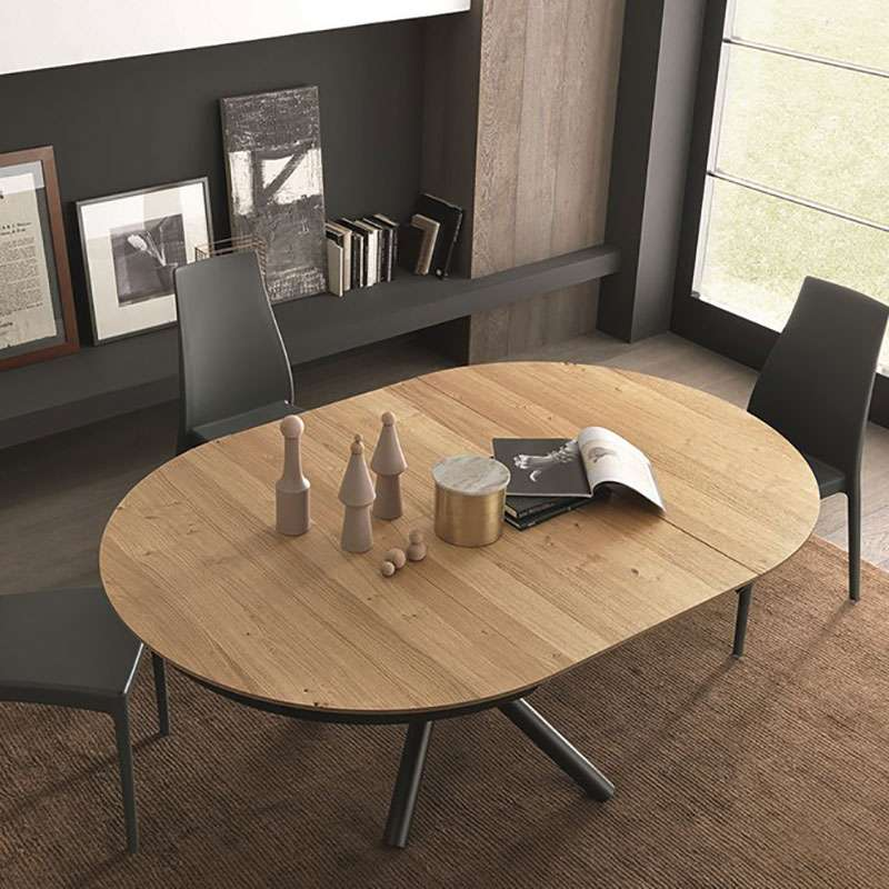 Table Bois Metal Design: Table Design Extensible Ronde En Bois Avec Pied Central