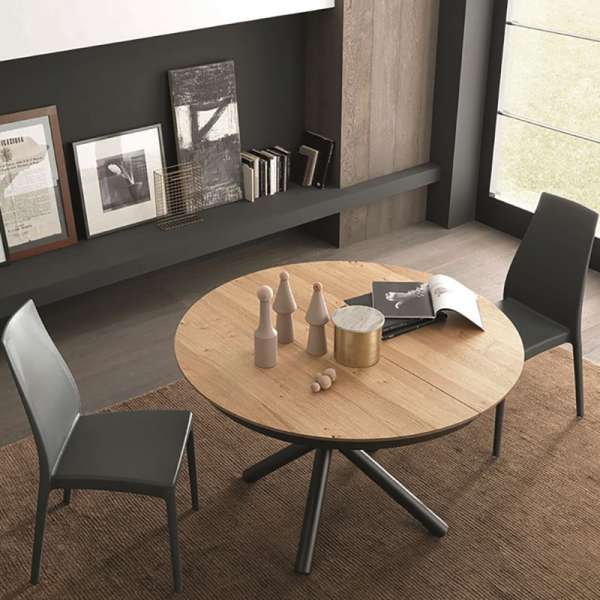 Table design extensible ronde en chêne plaqué W04 avec piétement central en métal M04 - Fahrenheit - 3