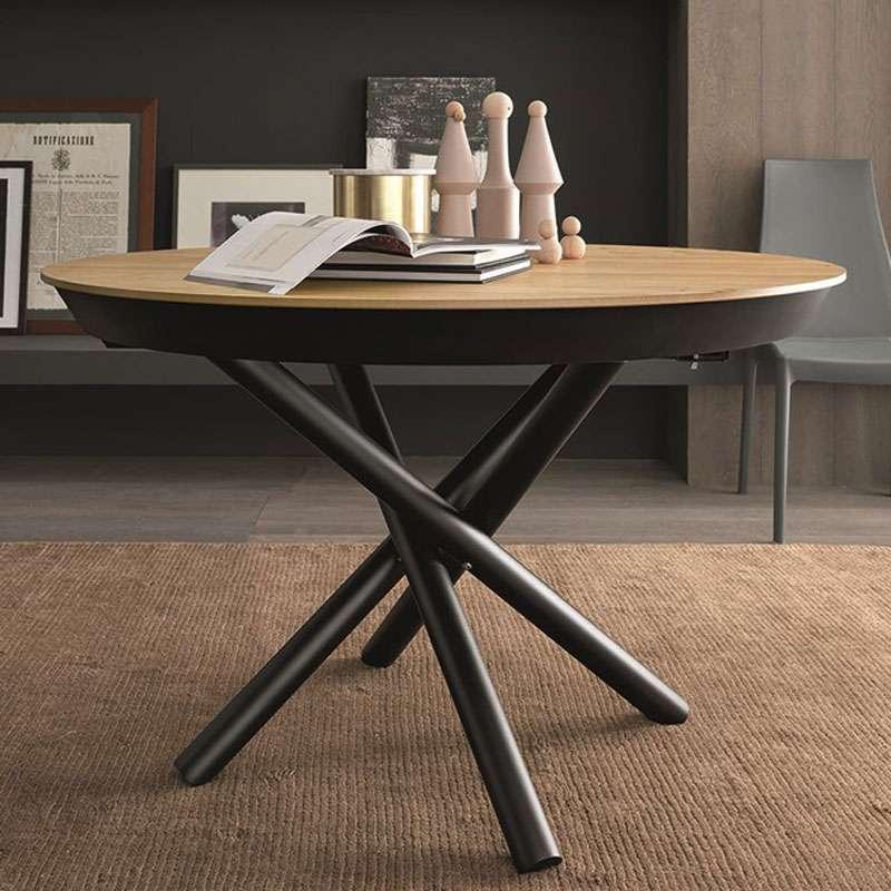 table design extensible ronde en bois avec pied central. Black Bedroom Furniture Sets. Home Design Ideas