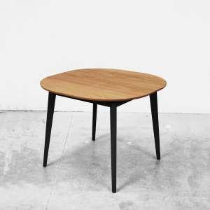 Table snack style scandinave en bois massif naturel et pieds noirs fabrication française - S9
