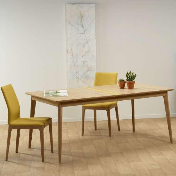 Table en bois scandinave fabriquée en France avec liseré coloré - Paul 666 - 1