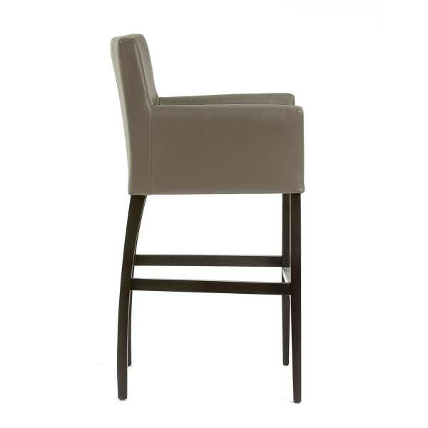 Chaise haute avec dossier et accoudoirs en synthétique gris et piétement en bois - BarMatiz - 4