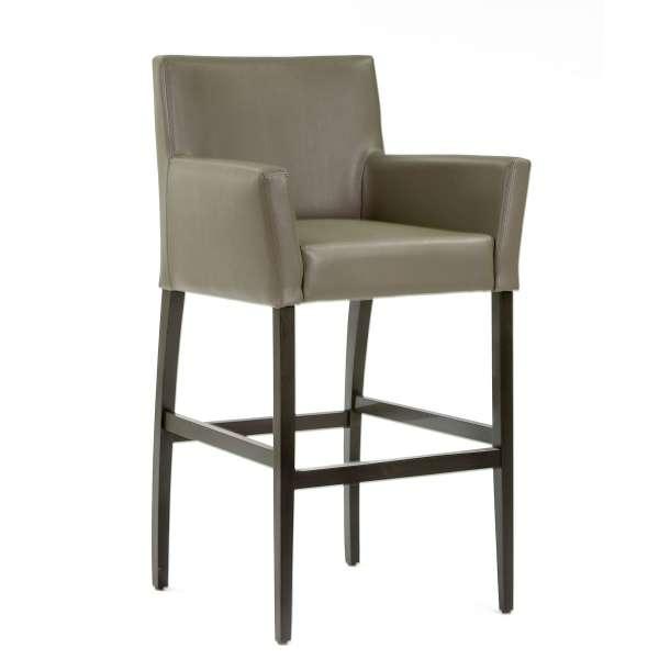Tabouret fauteuil en synthétique gris et piétement en bois - BarMatiz - 1