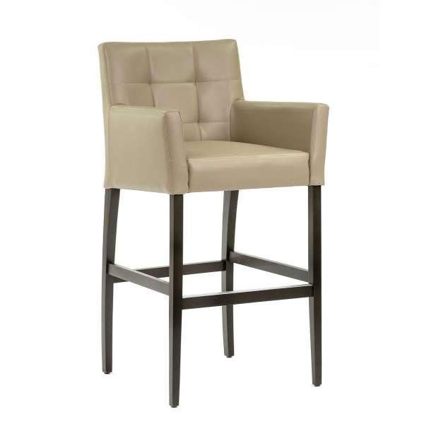 Chaise haute de bar avec dossier et accoudoirs en synthétique gris - BarMatiz - 1