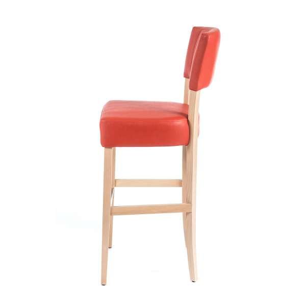Tabouret rouge en synthétique et pieds en bois clair - BarSteffi 2 - 9