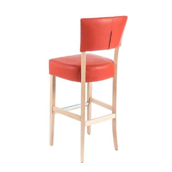 Tabouret contemporain en synthétique rouge et pieds en bois - BarSteffi 2 - 8